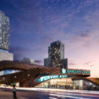 Rendering of the Nets arena and first three buildings due to be built on the Atlantic Yards site.
