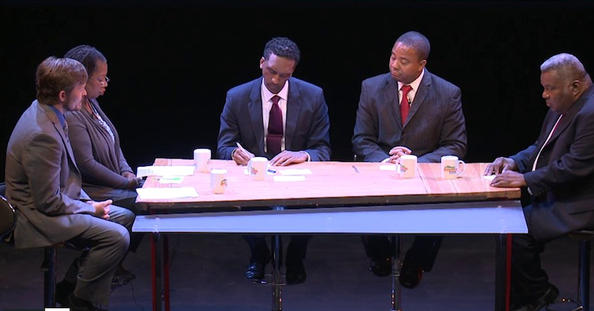 From left, moderators Jarrett Murphy and Esmeralda Simmons and candidates Rubain Dorancy, Jesse Hamilton and Guillermo Philpotts at the August 12th debate.
