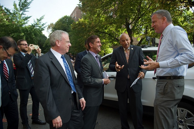 Sen. Klein, second from left, seen with Mayor de Blasio, Assemblyman Jeff Dinowitz and Borough President Ruben Diaz at a recent event. Klein's deep institutional support and hefty war chest have given his re-election bid an air of inevitability.