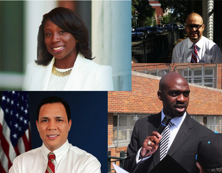 Clockwise from top left: Marsha Michael, Raul Rodriguez, Michael Blake and George Alvarez, four of the six Democrats vying for the 79th district seat.