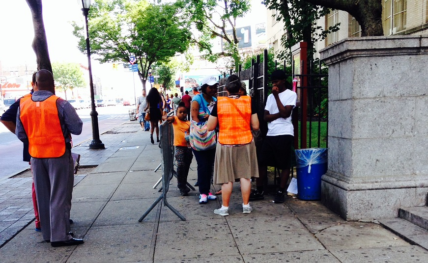 Parents and children lined up Wednesday outside the Theodore Roosevelt Educational Campus on Fordham Road to get last-minute help finding a UPK program.
