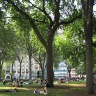 Union Square Park, one of two where Parks officers issued summonses to artists last week despite a court ruling blocking such enforcement. Those summonses were rescinded, but there are claims that other citations have been issued since.