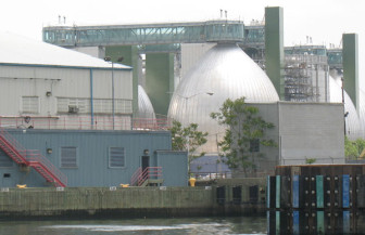 The Newtown Creek Water Pollution Control Plant. CSOs occur when wet weather gets to be too much for this and the other 13 city sewage plants to handle.