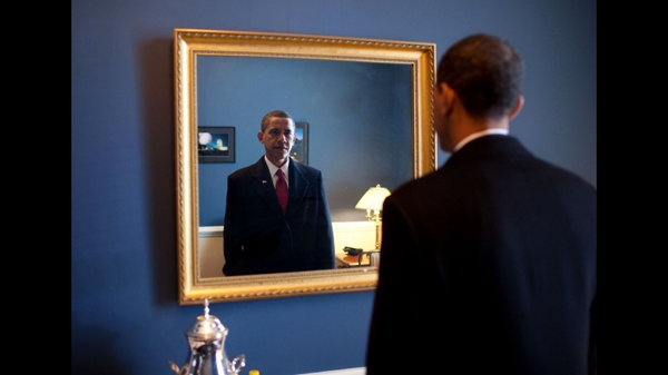 Obama, seen just before his inauguration seven years ago today.