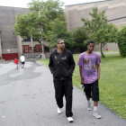 "Junior Jeremy Lock, 18 (dressed in black) and freshman Patrick Green, 16, leaving Dewey High School in Brooklyn on Friday, June 22. Greene, who studies audiovisuals, produced a video called <a href="" http://www.youtube.com/watch?v=EfnMn62KYx0"" target=""_blank"">""Fight for Dewey."" </a> But barring a last-minute change, Dewey will graduate its final class on June 26."