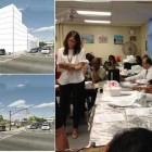 The plan (top left) and current look (bottom left) of the Rheingold site. Jennifer Dickson, standing, a lawyer representing Read Property, takes notes as Bushwick Community Board 4 District Manager Nadine Whitted expresses concerns about the Rheingold development.