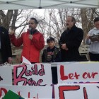 Assemblyman Jeffrey Dinowitz, State Sen. Jose Serrano, Jr. and Congressman Eliot Engel address demonstrators who want the city to take a modest step to repair the damage done to a flagship park by decades of invasive infrastructure projects.