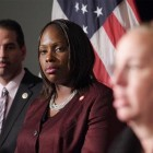 Vanessa Gibson actually has a few weeks' seniority on other new Council members. Because the incumbent in District 16, Helen Foster, left her post early to take up a state government post, Gibson (seen here flanked by Councilman Fernando Cabrera and Manhattan Borough President Gale Brewer) was sworn in in early December.