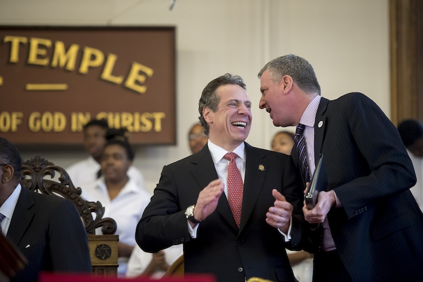 Gov. Cuomo and Mayor de Blasio at the Wilborn Temple First Church Of God In Christ in Albany on Sunday, February 16, 2014.
