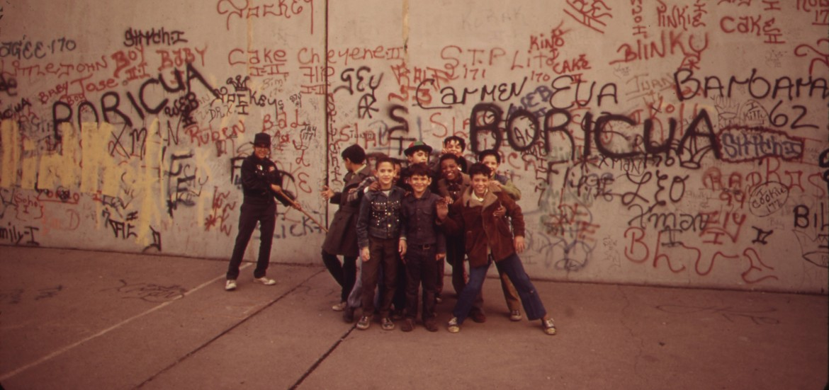 """The caption on this 1973 photo at the National Archives reads: """"A sidewalk in the Bronx becomes a playground for these youngsters."""" The Bronx was once a hub of culture, but the economic emergency of the 1970s eradicated much of it."""