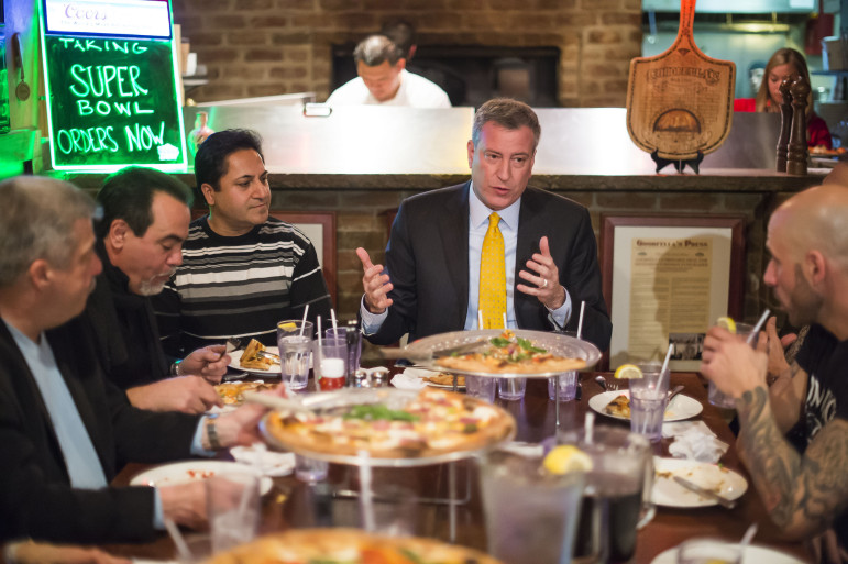 New York City Mayor Bill de Blasio dines at Goodfellas Pizza on Staten Island on Friday, January 10, 2014