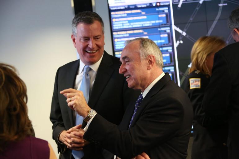 Mayor de Blasio preparing to swear in NYPD Commissioner William Bratton in January 2014.