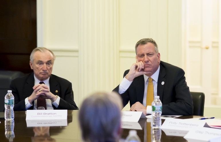 Police Commissioner Bratton and Mayor de Blasio seen in February 2014.