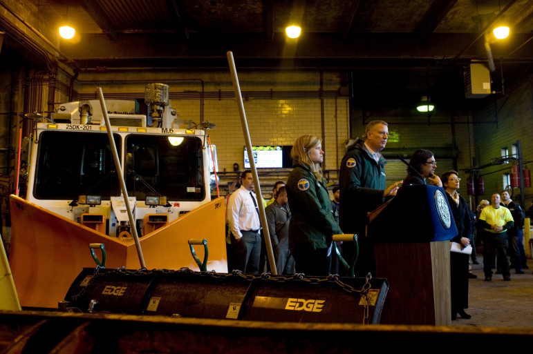 Mayor de Blasio updates New Yorkers on storm preparations on Sunday, January 25.