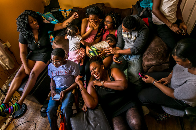 Natasha Creese relaxing with family and friends after a Sunday lunch. She recently faced a 112 percent rent hike.