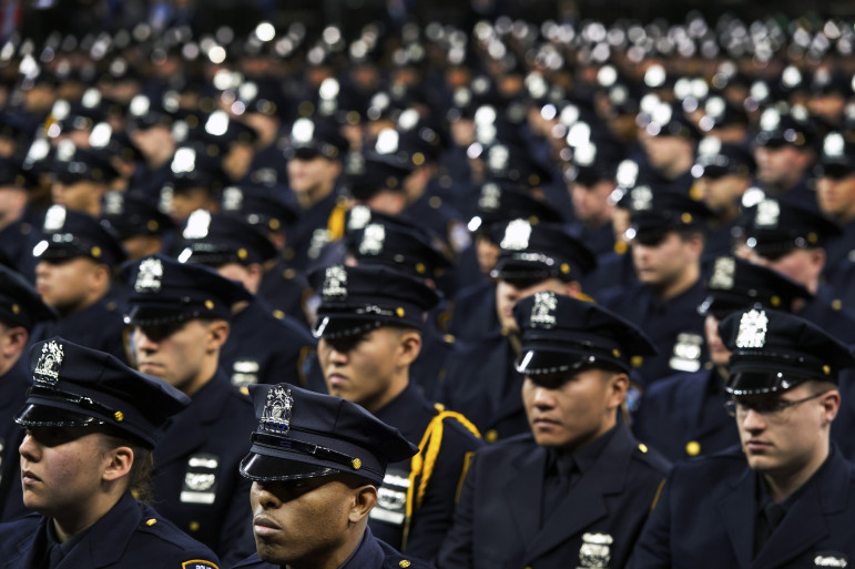 Cadets at the December 2014 graduation from the NYPD academy.