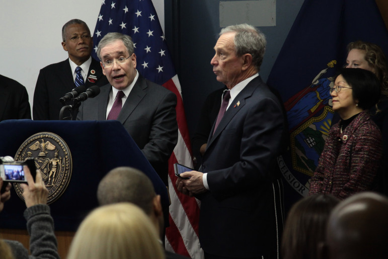 Then-Manhattan Borough President Scott Stringer, seen with Mayor Bloomberg in a 2013 photo. As comptroller, Stringer has advanced a transparency initiative that began during the Bloomberg years.