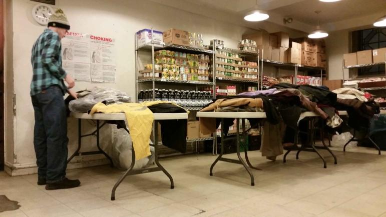 Inside the coat donation operation at St. Bartholemew's.