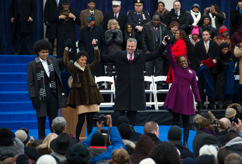 Inauguration Day, 2014: As the de Blasio family greeted the crowd, Dasani Coates, the subject of a newspaper series about homelessness during the Bloomberg era, looked on from the second row of seats.