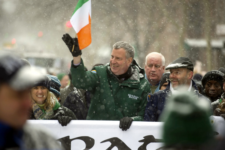 Mayor Bill de Blasio marches in Sunday's St. Pat's for All Parade on Skillman Avenue in Queens.