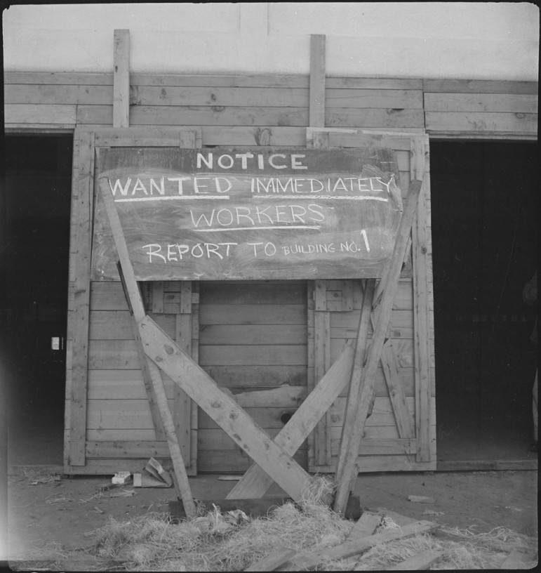 WWII-era help wanted sign in San Bruno, California.