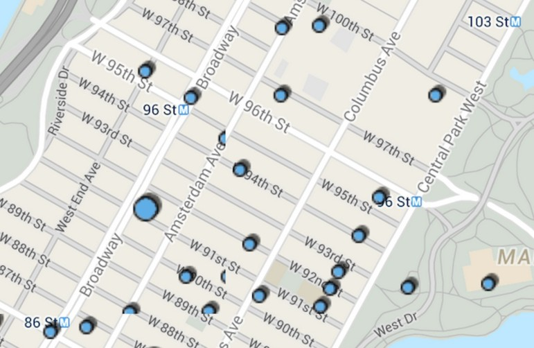A screenshot of the NYPD Crime Map shows recent offense reports on the Upper West Side.