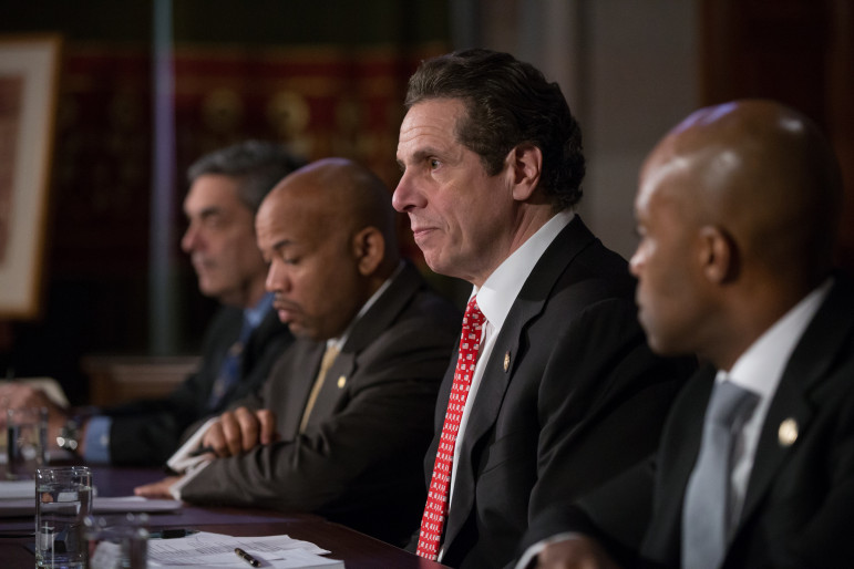 Gov. Cuomo and Speaker Heastie announcing the ethics agreement that was a key factor in budget negotiations.