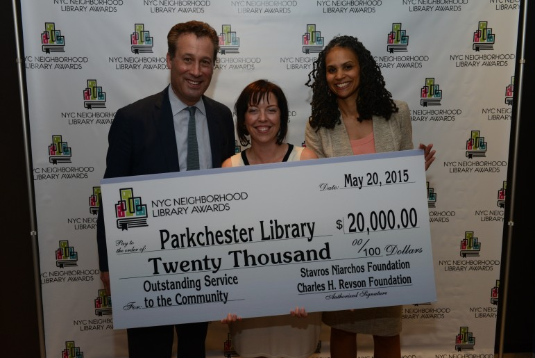 Anthony Marx, President of the New York Public Library; Parkchester Library Manager Wendy Archer; and, Maya Wiley, Counsel to Mayor Bill de Blasio.