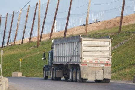 A truck on its way to the Seneca Meadows landfill in Seneca County, N.Y.