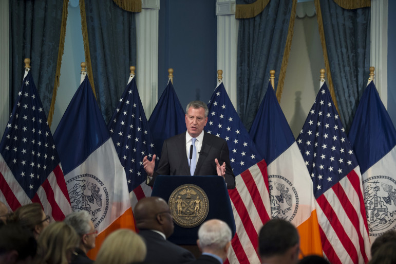 Mayor Bill de Blasio presents his Fiscal Year 2016 Executive Budget in the Blue Room at City Hall.