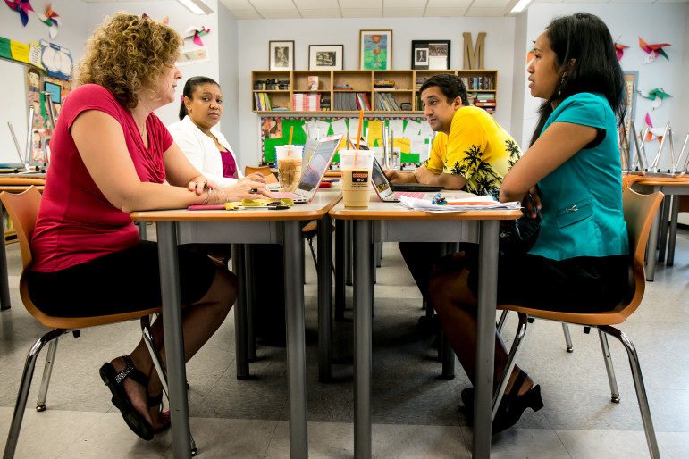 Sixth-grade teachers (clockwise from bottom right) Lalaina Andriananjason, Nancy Dooley, Yesenia Morel and Tariq Hussein, conducting a Grade Team Meeting at CHAH. While not on the Renewal Schools list, CHAH uses many of the techniques that the de Blasio administration wants to apply to failing schools.