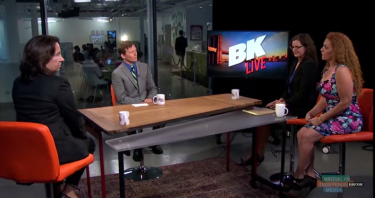 On the set of Bk Live, from left to right, were reporter Wendy Davis, Jarrett Murphy, Bronx Defenders legal director Marika Meis and Empire Bailbonds CEO Michelle Esquenazi.