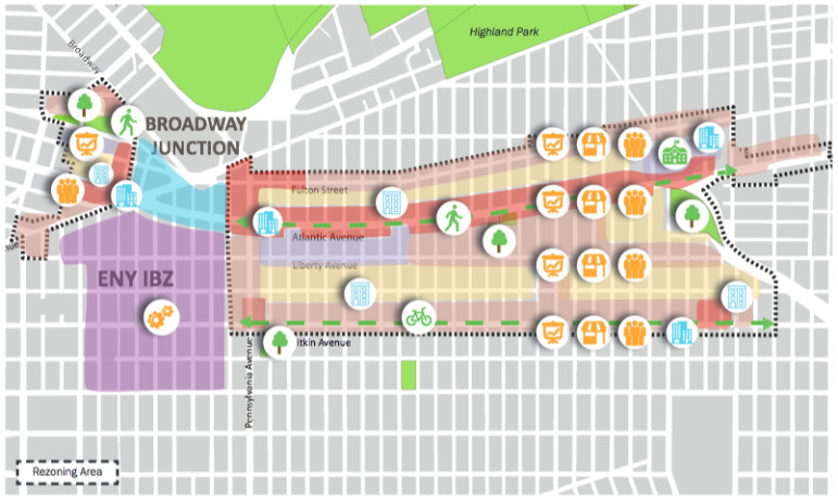 The city's latest report on East New York designates areas for revised zoning and indicates where new features and programs will be located.