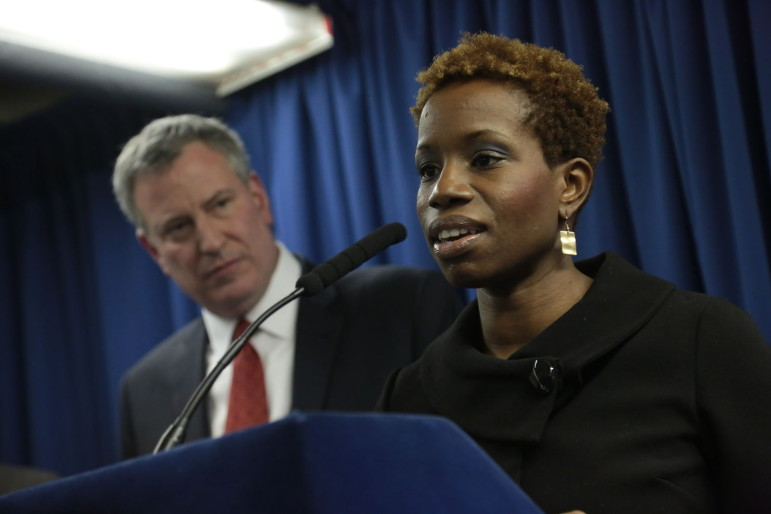 NYCHA chairwoman Shola Olatoye seen with the mayor.