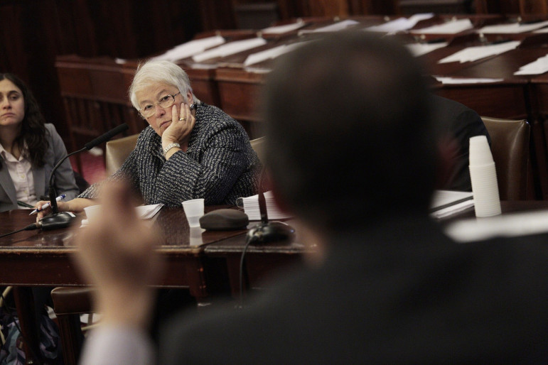New York City Schools Chancellor Carmen Farińa at a City Council hearing. One year after Councilmembers grilled the DOE on their approach to special ed, there are signs of progress, advocates say.