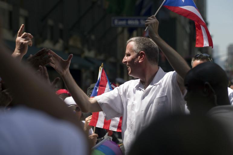 Mayor Bill de Blasio Marches in the Puerto Rican Day Parade in June.