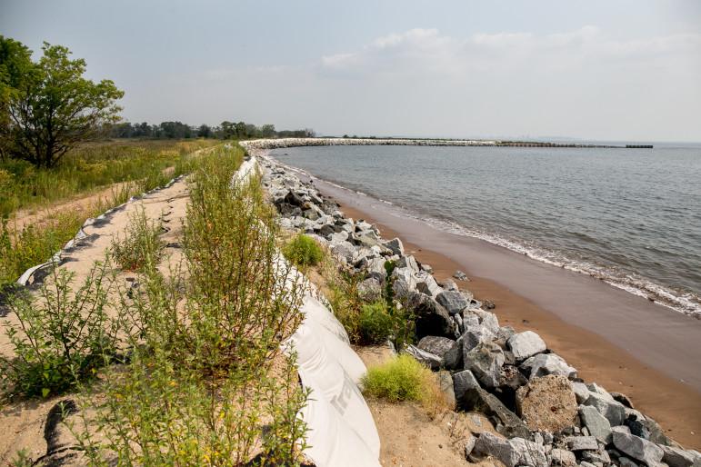 Reinforced dunes at edge of Oakwood Beach.
