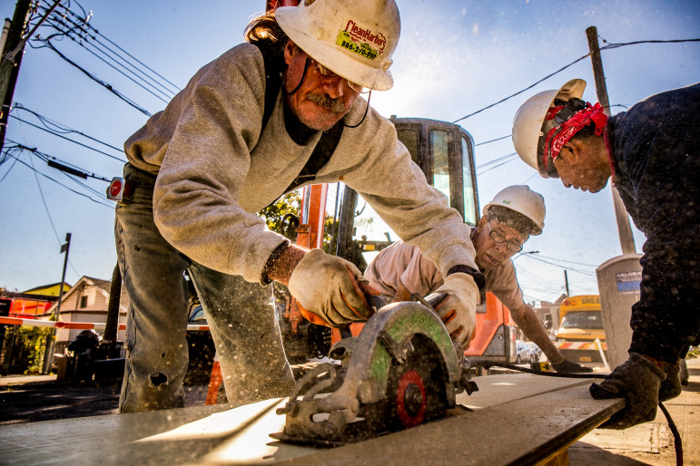 John White working on a  Build It Back site in Sheepshead Bay, Brooklyn, where he is a lifelong resident..