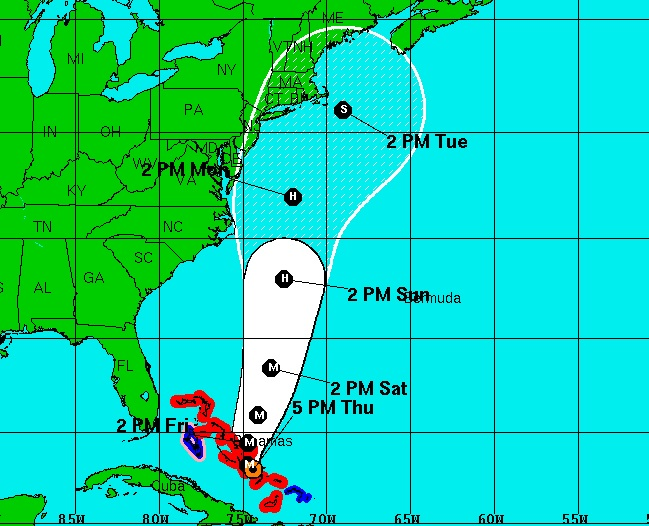 Joaquin's track as of 5 p.m. on Thursday, October 1.