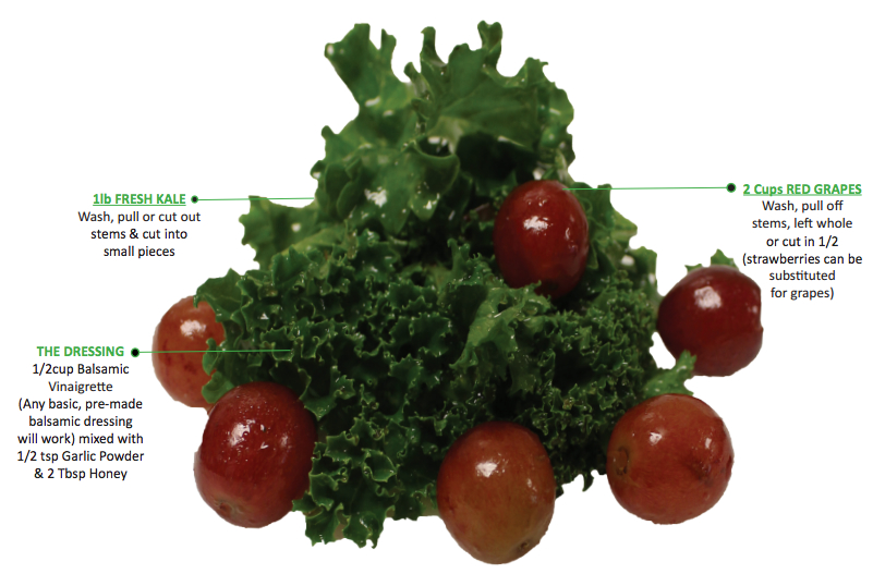 """A recipe for """"kid-friendly"""" kale, a student favorite offered on the DOE's school food website."""
