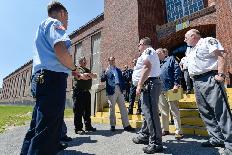 Governor Cuomo tours Dannemora correctional facility shortly after the escape of two inmates in June. He and his predecessors have overseen a major reduction in the state's prison population.