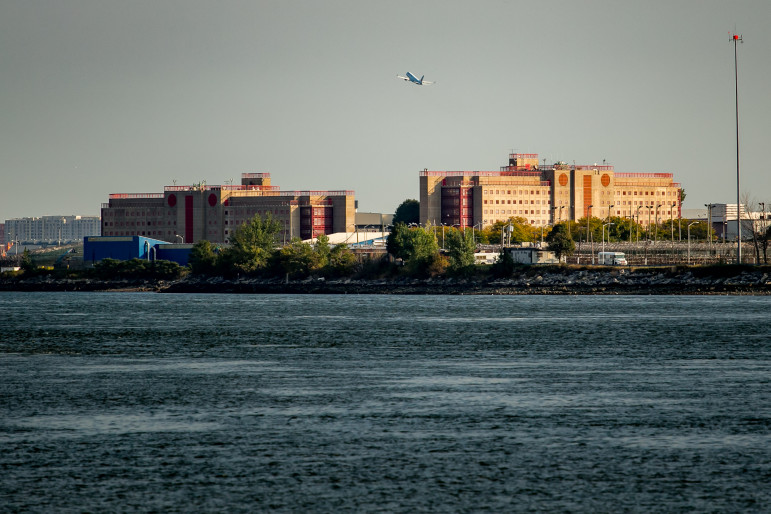 George R. Vierno Center on Rikers Island, seen from the Bronx.