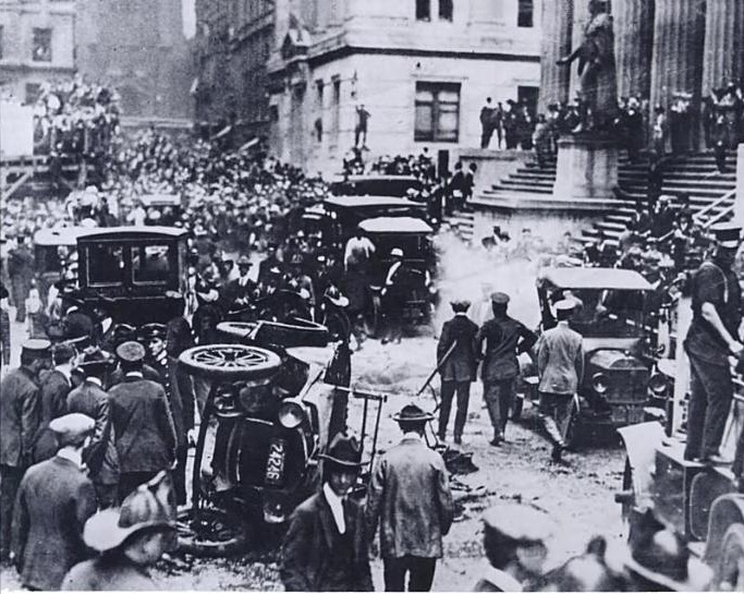 The aftermath of the 1920 Wall Street bombing.