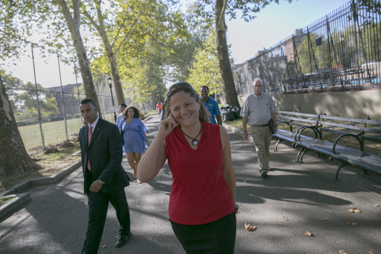 Speaker Melissa Mark-Viverito seen in East Harlem in August 2014. She supports the mayor's rezoning proposals but the community planning  effort she has spearheaded includes groups that don't.