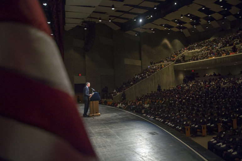 Mayor de Blasio at a Department of Correction graduation ceremony earlier this month.