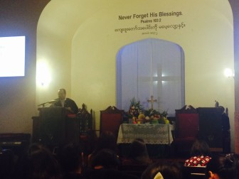 Inside the Myanmar Baptist Church in Glendale.