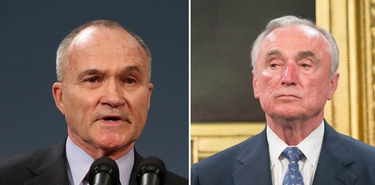 Former Police Commissioner Raymond Kelly (left) and his successor William Bratton disagree with each other. Police reform advocates largely disagree with both of them.