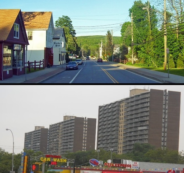 """Two parts of the """"area"""" from which the Area Median Income in New York City housing programs is derived: At top is Patterson, N.Y., in Putnam County. At bottom is East New York in Brooklyn."""