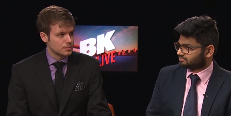 Armlovich of the Manhattan Institute and Khushid of Gotham Gazette on the set of BK Live.