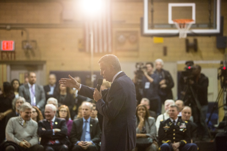 The words of support are helpful to Mayor de Blasio, seen at a recent town hall, because elements of his political base have indicated opposition to the zoning proposals.